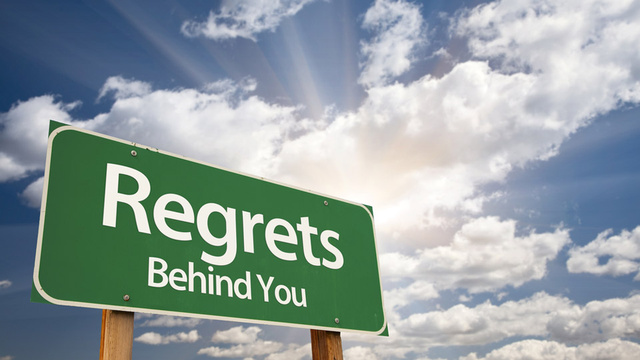 regrets behind you sign
